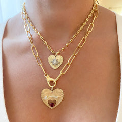 14K Gold Pavé Diamond Starburst Fluted Heart Medallion Necklace, Medium Size ~ In Stock!