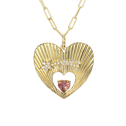 14K Gold Pavé Diamond Shooting Star Fluted Heart Medallion Necklace With Solitaire Tourmaline ~ In Stock!
