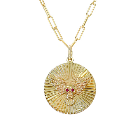 14K Gold Ruby Flying Skull Fluted Medallion Necklace