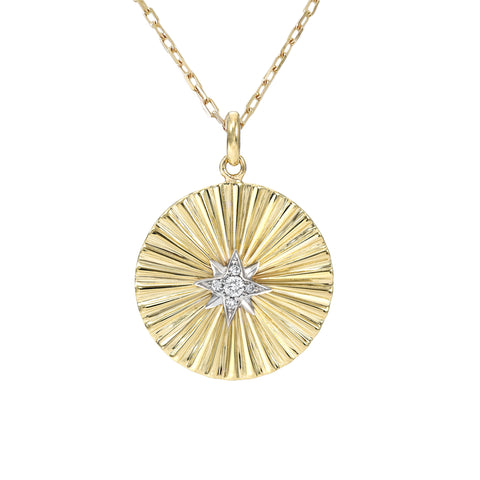 14K Gold Small Size Diamond Starburst Fluted Medallion Necklace