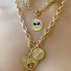 14K Gold Pavé Diamond Crowned Double Initial Fluted Heart Medallion Necklace