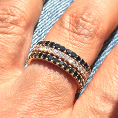 14K Gold Pavé Black Diamond Half Eternity Band