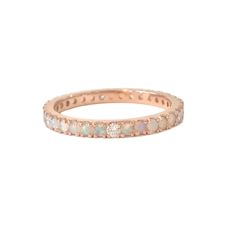 14K Gold Pavé Diamond & Opal Gemstone Full Eternity Band
