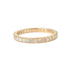 14K Gold Pavé Opal Gemstone Full Eternity Band