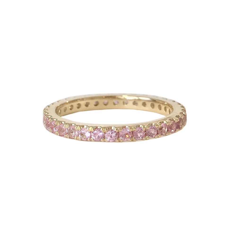 14K Gold Pavé Powder Pink Sapphire Full Eternity Band