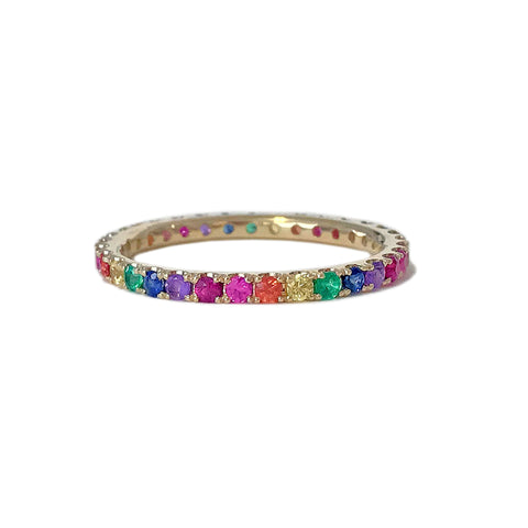 14K Gold Pavé Rainbow Gemstone Full Eternity Band