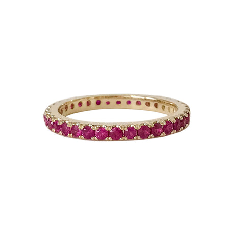 14K Gold & Pavé Ruby Full Eternity Band