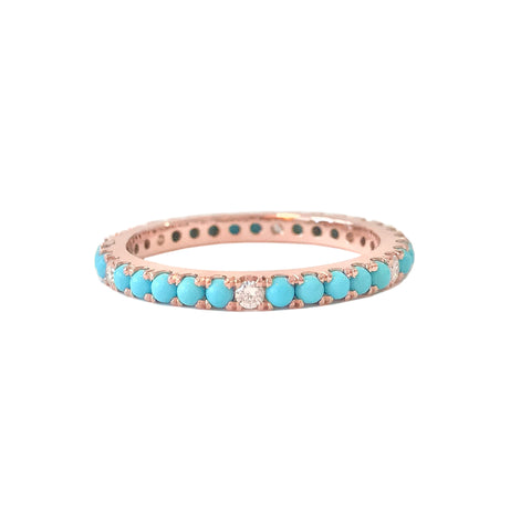 14K Gold Pavé Diamond & Turquoise Gemstone Full Eternity Band