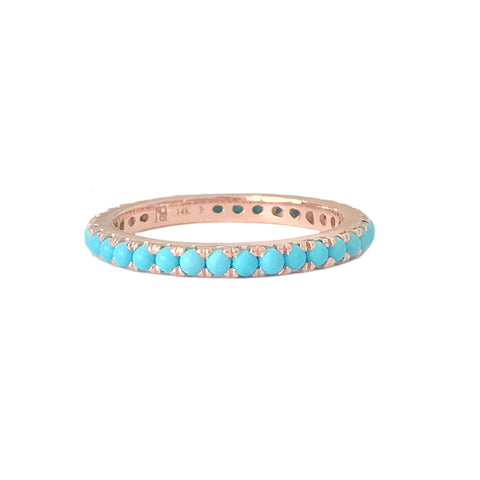 14K Gold & Pavé Turquoise Gemstone Full Eternity Band