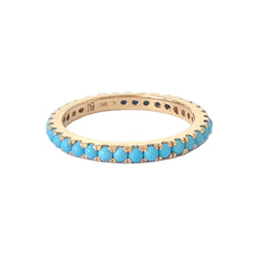 14K Gold Pavé Turquoise Gemstone Full Eternity Band