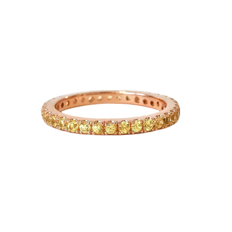 14K Gold Pavé Yellow Sapphire Full Eternity Band