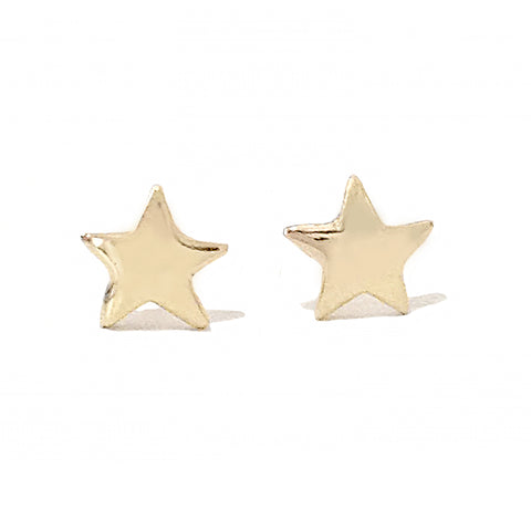 14K Gold Star Stud Earrings, XS Size ~ In Stock!