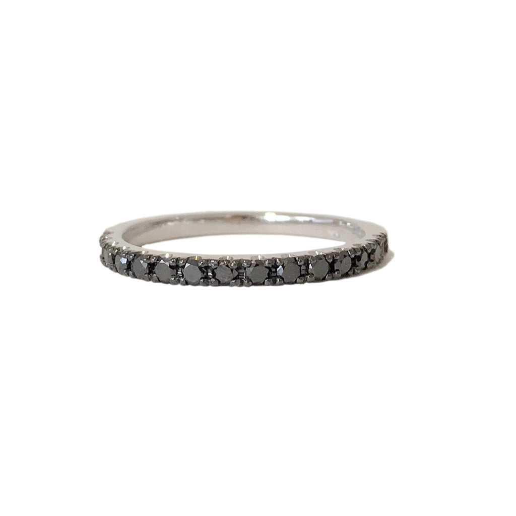 14K Gold & Pavé Black Diamond Half Eternity Band