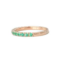 14K Gold Pavé Emerald Gemstone Half Eternity Band