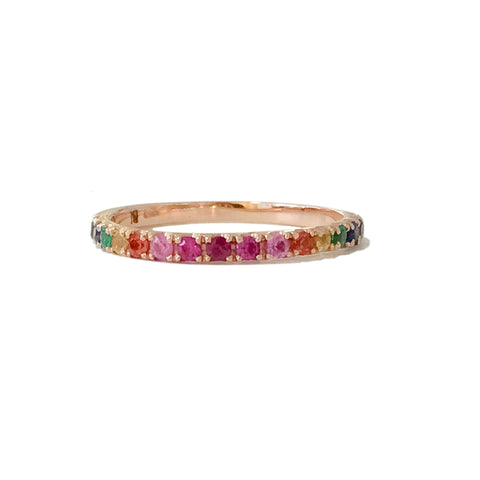 14K Gold & Pavé Rainbow Gemstone Half Eternity Band