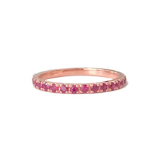14K Gold & Pavé Ruby Gemstone Half Eternity Band