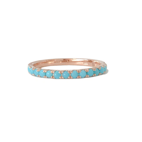 14K Gold Pavé Turquoise Half Eternity Band