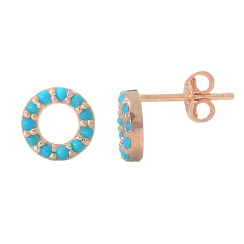 14K Gold & Turquoise Halo Stud Earrings