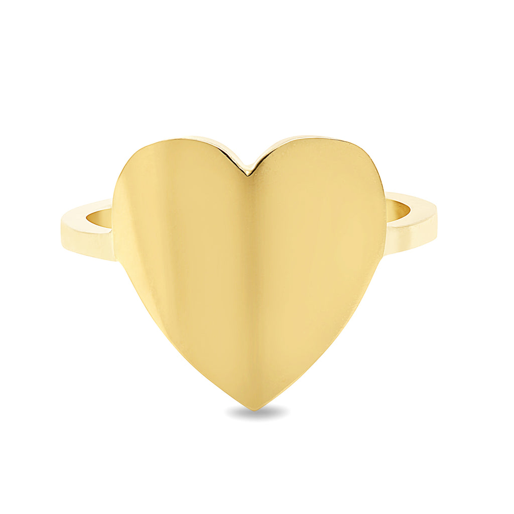 14K Gold Heart Cigar Band Ring, Large Size ~ Engraveable
