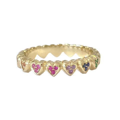 14K Gold Rainbow Eternal Heart Ring