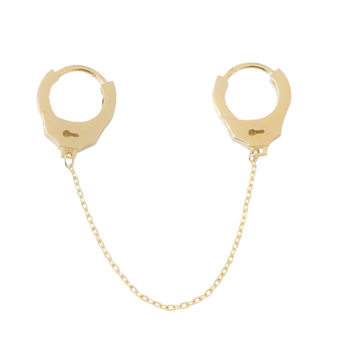 14K Gold Double Handcuff Huggie Hoop Earrings
