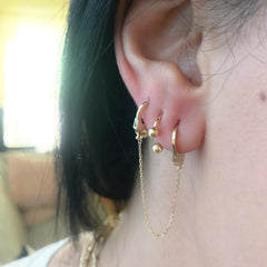 Barbell Collection: 14K Gold Double Ball Circular Horseshoe Earrings