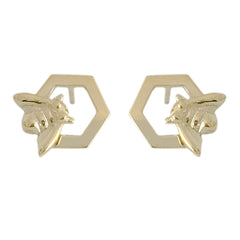 14K Gold Honey Bee Stud Earrings