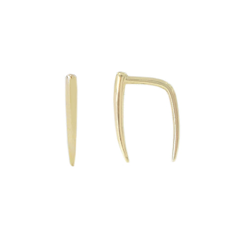 14K Gold Ear Hugger Thorn Earrings