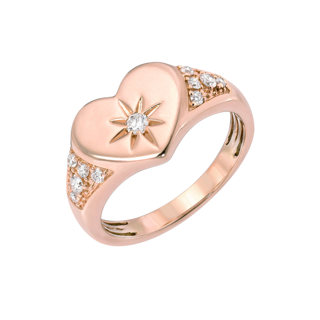 14K Gold Star Set Diamond Pavé Heart Signet Ring, LIMITED EDITION ~ In Stock!