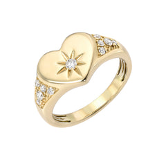 14K Gold Star Set Diamond Pavé Heart Signet Ring ~ LIMITED EDITION