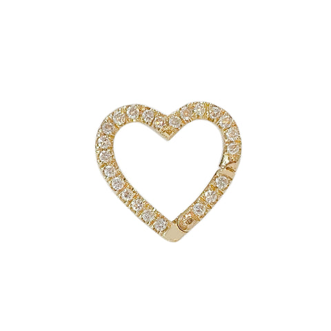 14K Gold Pavé Diamond Heart Charm Enhancer
