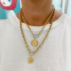14K Gold Thick Flat Rolo Link Chain Necklace, Small Size ~ In Stock!