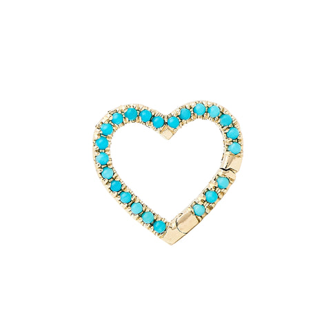 14K Gold Pavé Turquoise Heart Charm Enhancer ~ In Stock!