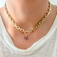 14K Gold Emerald Heart & Pink Sapphire Evil Eye Necklace ~ In Stock!