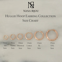 14K Gold XL Size (15mm) Thick Huggie Hoop Earrings
