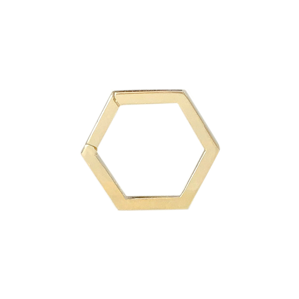 14K Gold Hexagon Charm Enhancer ~ In Stock!