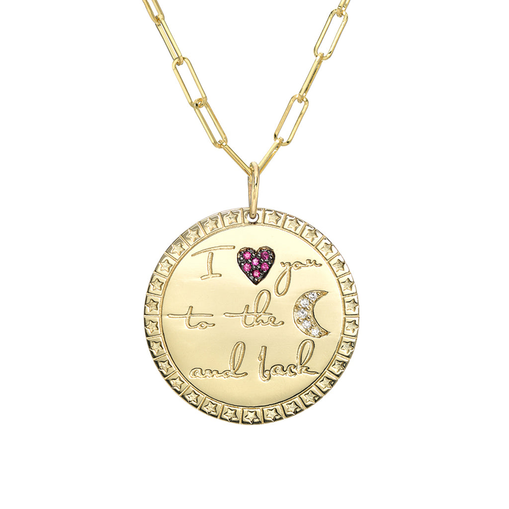 "14K Gold Pavé Diamond & Ruby ""I Love You To The Moon And Back"" Celestial Medallion Necklace ~ In Stock!"