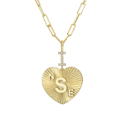 "14K Gold Pavé Diamond ""I Love"" Monogram Initial Fluted Heart Charm Necklace"