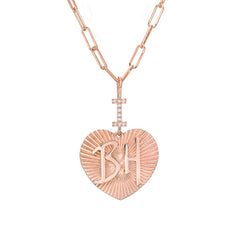 "14K Gold Pavé Diamond ""I Love BH"" Charm Necklace"