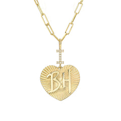 "14K Gold Pavé Diamond ""I Love BH"" Charm Necklace ~ In Stock!"