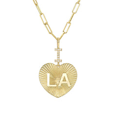 "14K Gold Pavé Diamond ""I Love LA"" Charm Necklace ~ In Stock!"