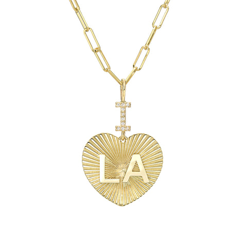 "14K Gold Pavé Diamond ""I Love LA"" Charm Necklace"