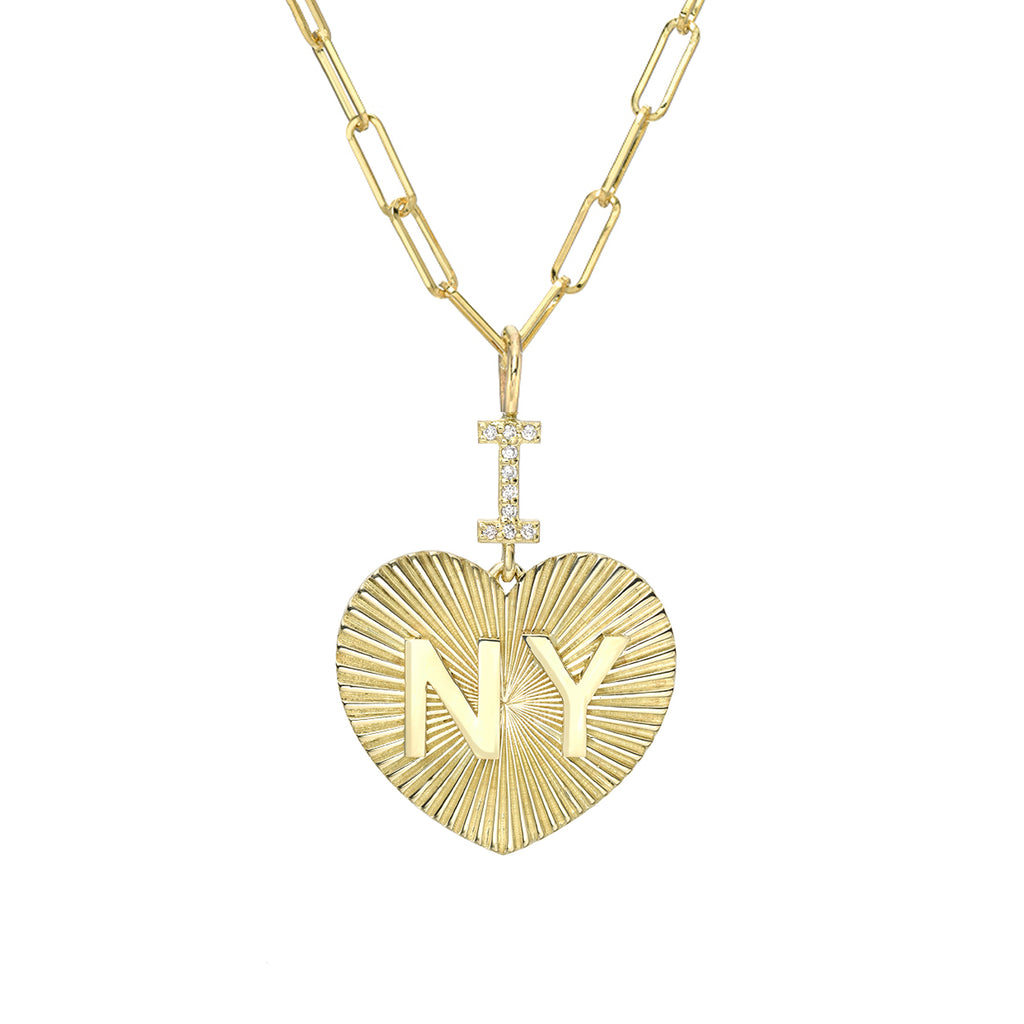 "14K Gold Pavé Diamond ""I Love NY"" Charm Necklace"