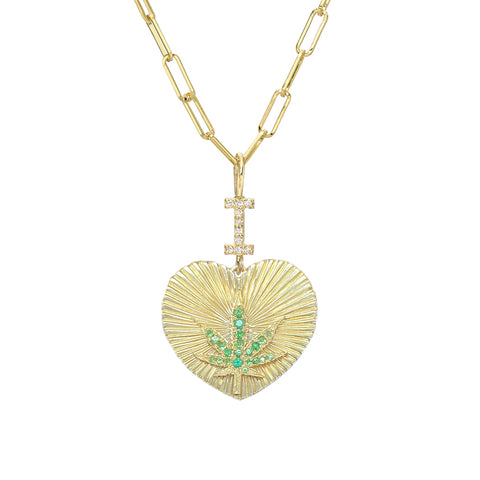 "14K Gold Pavé Diamond & Tsavorite ""I Love Marijuana"" Charm Necklace"
