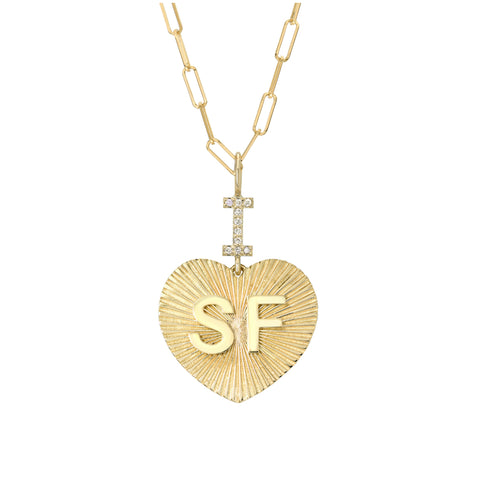 "14K Gold Pavé Diamond ""I Love SF"" Charm Necklace"