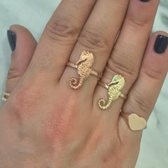14K Gold Large Size Seahorse Ring with Turquoise Eye