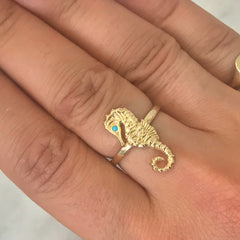 14K Gold & Turquoise Large Seahorse Ring