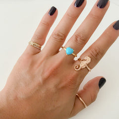 14K Gold & Diamond Large Seahorse Ring