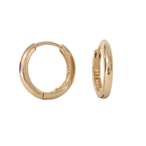 14K Gold Large Size (12mm) Huggie Hoop Earrings