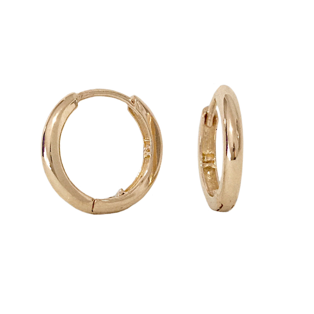 14K Gold Large Size (12mm) Huggie Hoop Earrings ~ In Stock!